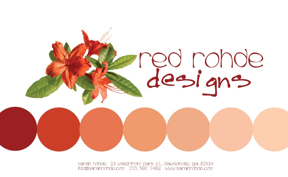 red rohde                              designs  Sarah Rohde 23 waterfront park ct., dawsonville, ga 30534 info@sarahrohde....