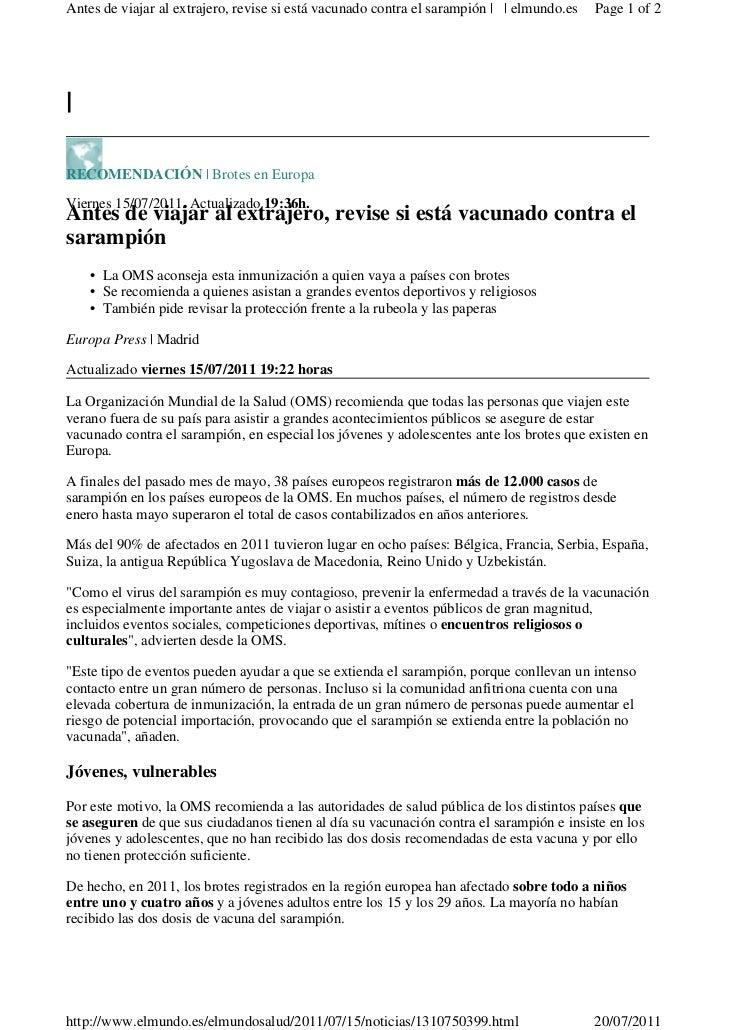 Antes de viajar al extrajero, revise si está vacunado contra el sarampión | | elmundo.es   Page 1 of 2|RECOMENDACIÓN | Bro...