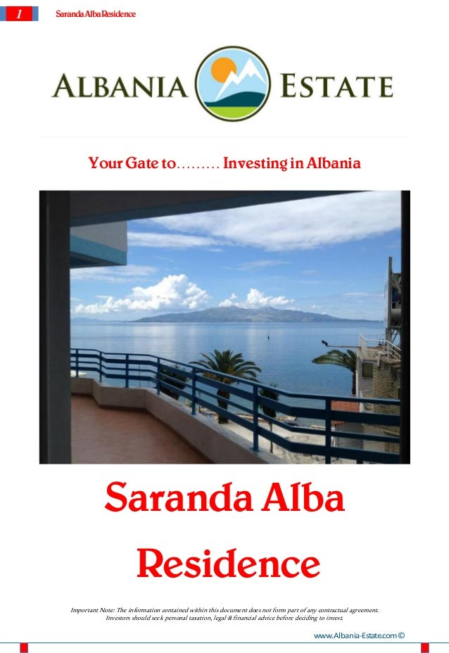 1   Saranda Alba Residence              Your Gate to……… Investing in Albania                    Saranda Alba              ...