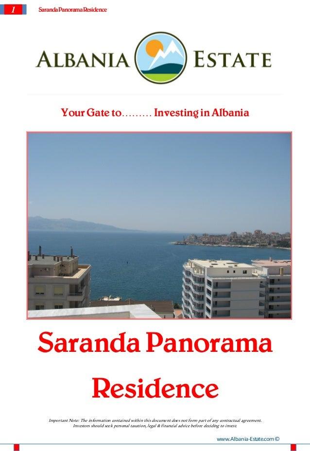 1   Saranda Panorama Residence             Your Gate to……… Investing in Albania    Saranda Panorama                       ...