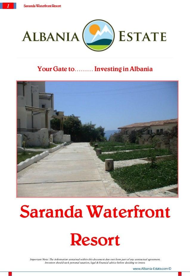 1   Saranda Waterfront Resort              Your Gate to……… Investing in Albania    Saranda Waterfront                     ...