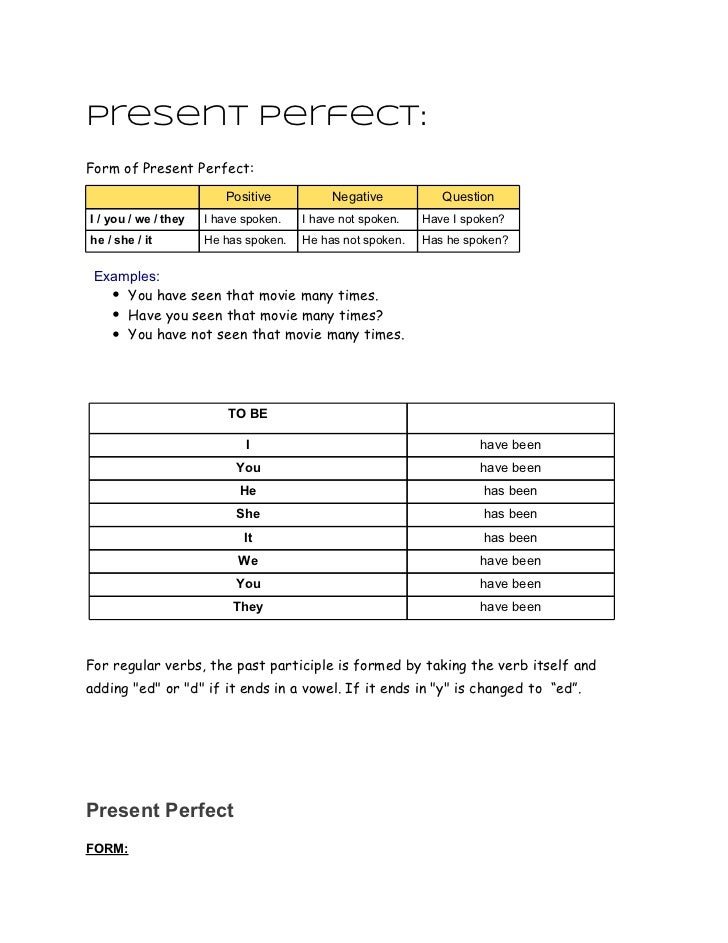 Present perfect:Form of Present Perfect:                         Positive           Negative           QuestionI / you / w...