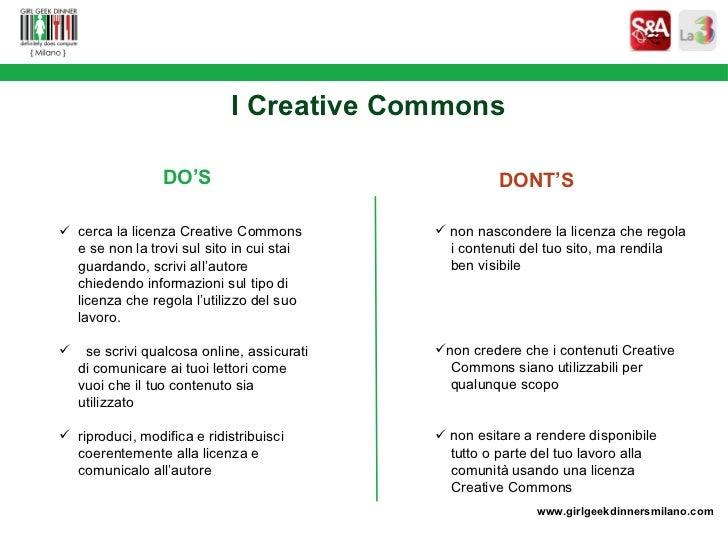Creative Commons. I contenuti (quasi) liberi nella Rete. Intervento di Sara Rosso.