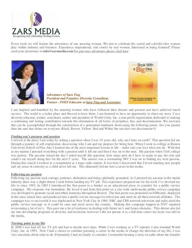 Sara Ting President and Founder; Diversity Consultant,  Trainer - POET Educator at Sara Ting and Associates