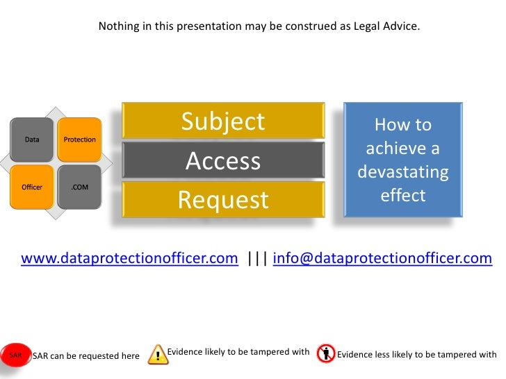 Nothing in this presentation may be construed as Legal Advice.                                         Subject            ...
