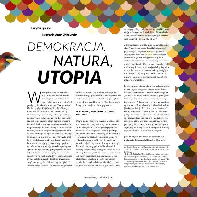 Lucy Sargisson, Demokracja, natura, utopia