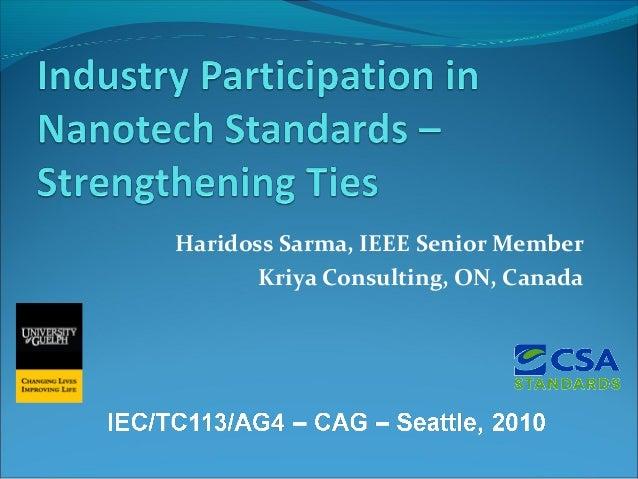 Haridoss Sarma, IEEE Senior Member Kriya Consulting, ON, Canada