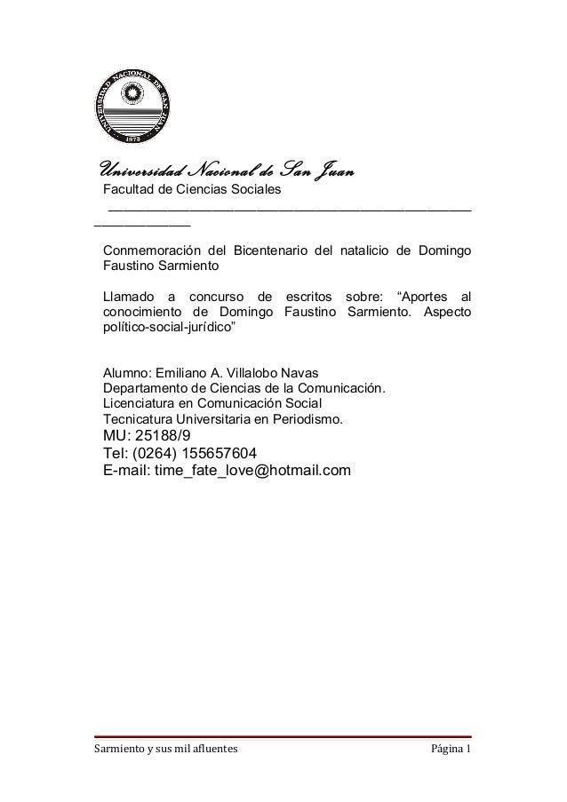 Universidad Nacional de San Juan Facultad de Ciencias Sociales  __________________________________________________________...