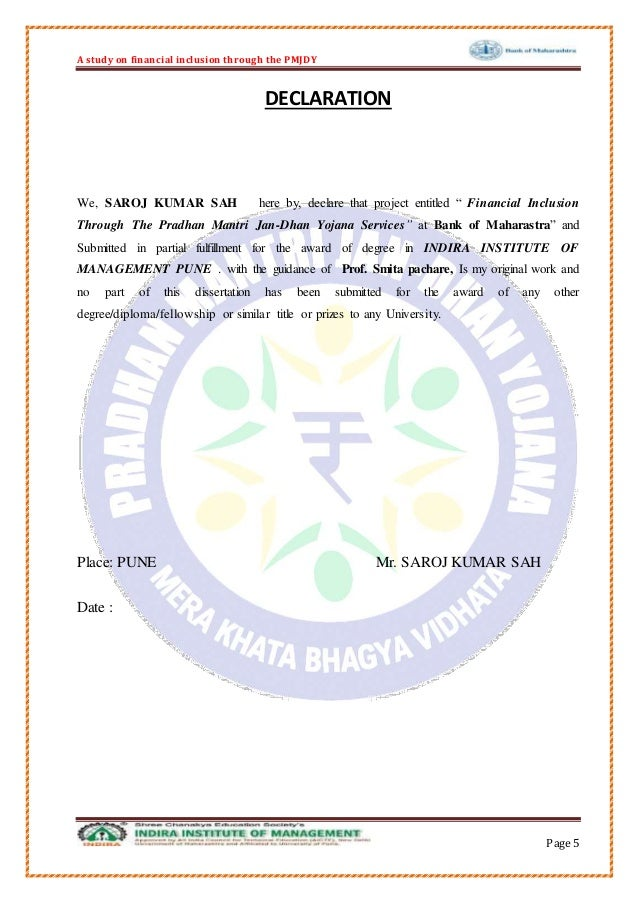 Dissertation on financial inclusion