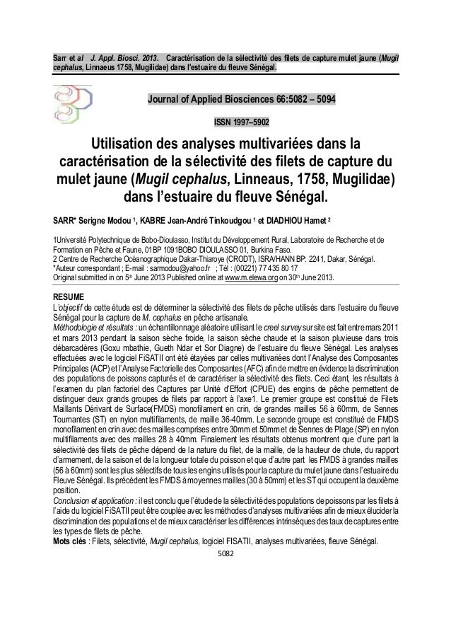 Sarr et al J. Appl. Biosci. 2013. Caractérisation de la sélectivité des filets de capture mulet jaune (Mugil cephalus, Lin...
