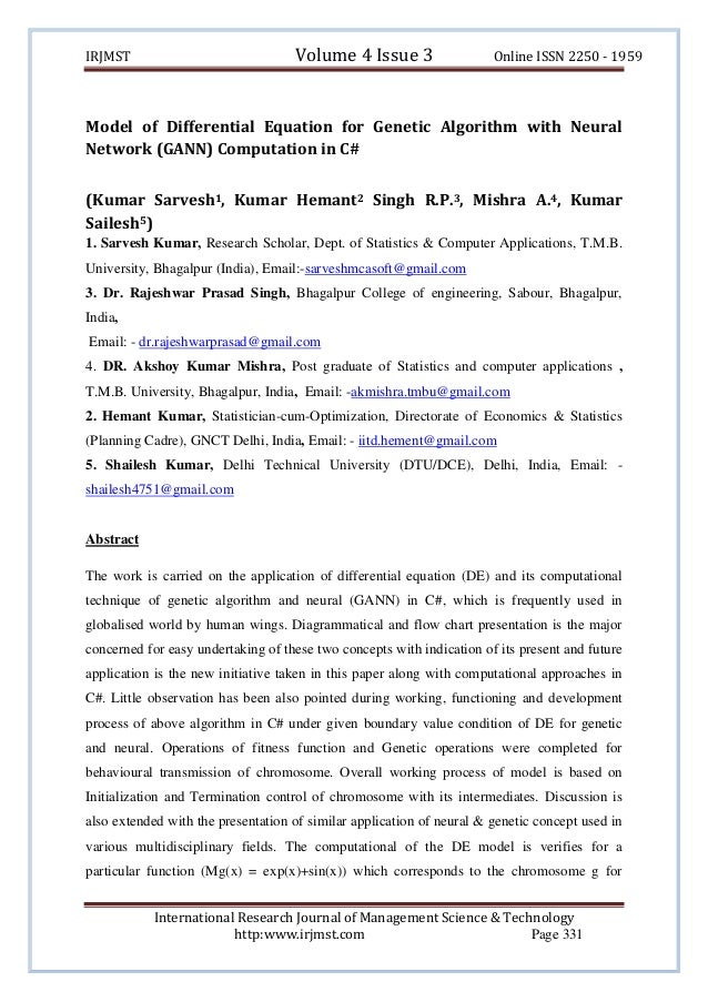 Volume 4 Issue 3  IRJMST  Online ISSN 2250 - 1959  Model of Differential Equation for Genetic Algorithm with Neural Networ...