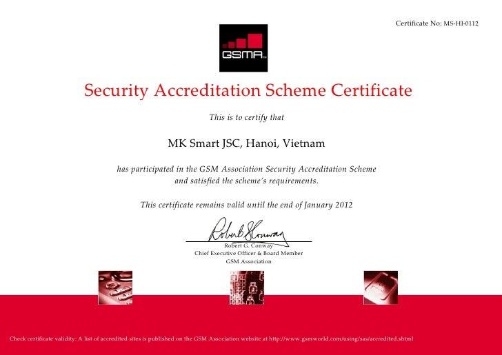 MK Smart - SAS Certificate