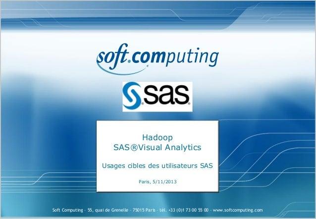 Hadoop SAS®Visual Analytics Usages cibles des utilisateurs SAS Paris, 5/11/2013  Soft Computing – 55, quai de Grenelle – 7...