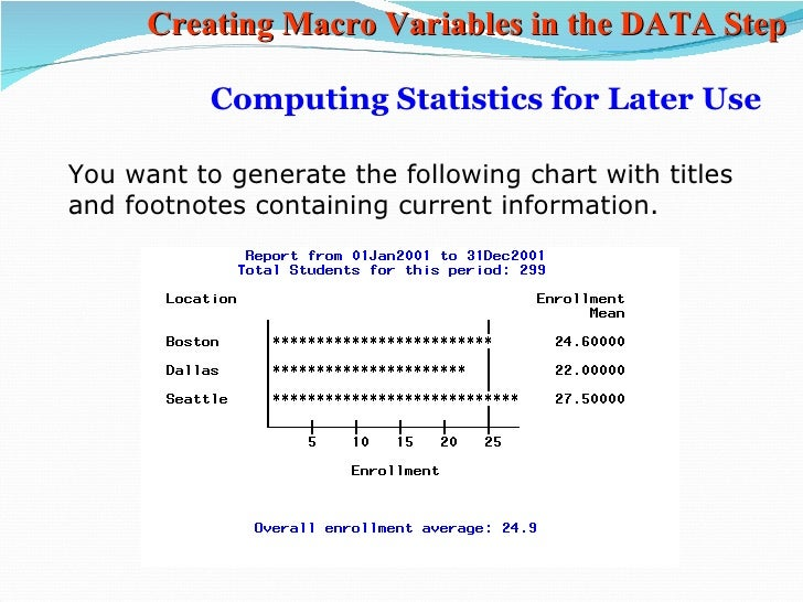 macros in sas 2 outline of presentation • when do we need arrays and macros • arrays in sas – relation between array elements and variables – examples of using array in sas.