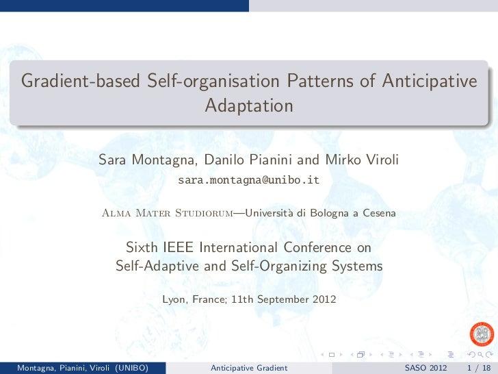 Gradient-based Self-organisation Patterns of Anticipative Adaptation