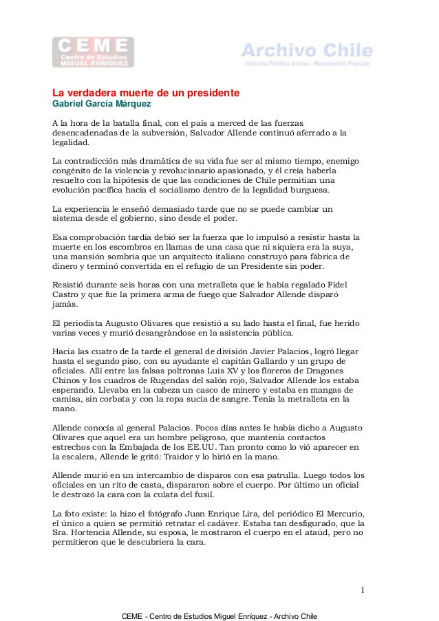 La verdadera muerte de un presidente Gabriel García Márquez A la hora de la batalla final, con el país a merced de las fue...