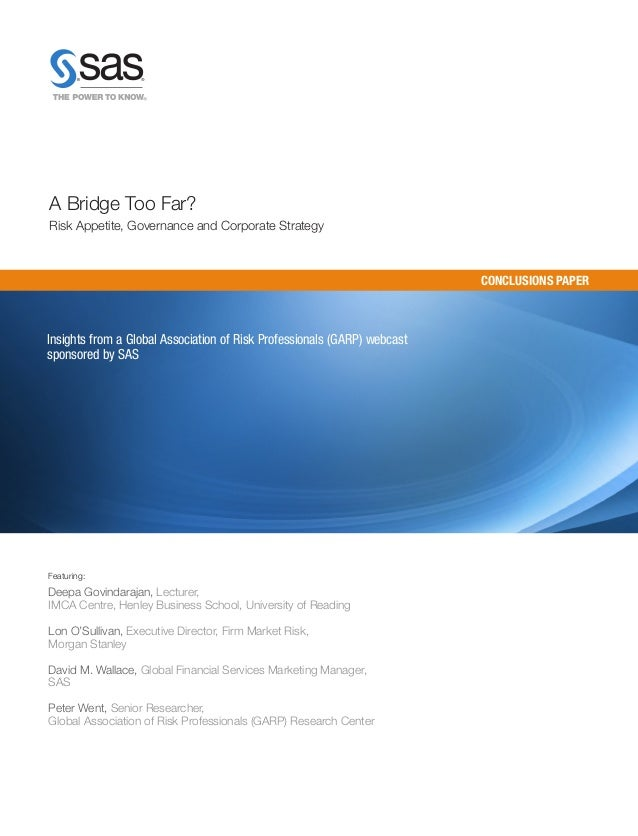 A Bridge Too Far? Risk Appetite, Governance and Corporate Strategy (Whitepaper)