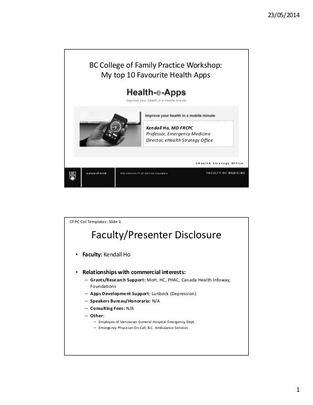 23/05/2014 1 e H e a l t h S t r a t e g y O f f i c e BC College of Family Practice Workshop: My top 10 Favourite Health ...
