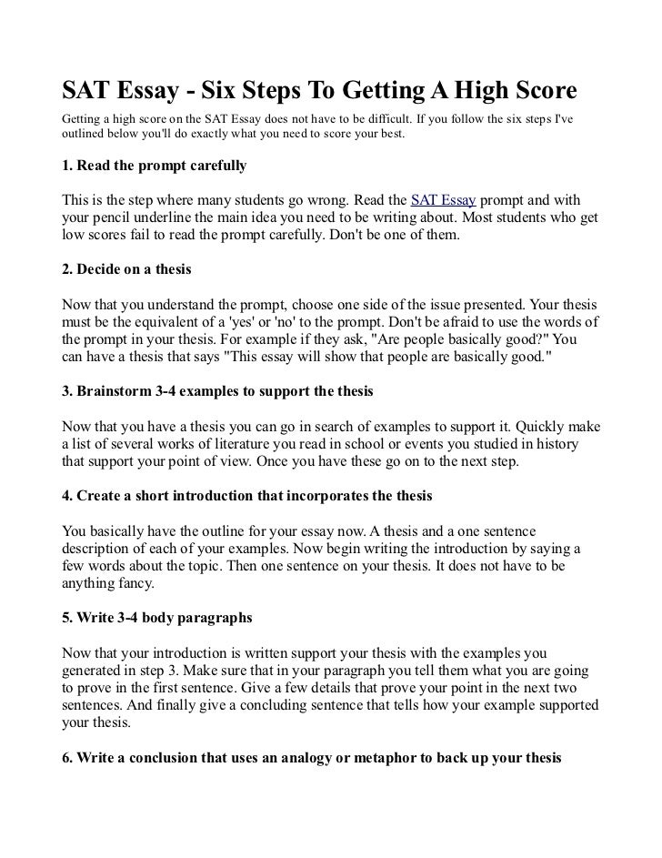six steps to write an essay