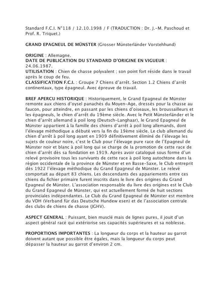 Standard F.C.I. N°118 / 12.10.1998 / F (TRADUCTION : Dr. J.-M. Paschoud etProf. R. Triquet.)GRAND EPAGNEUL DE MÜNSTER (Gro...