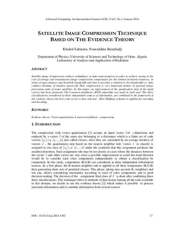 Advanced Computing: An International Journal (ACIJ), Vol.5, No.1, January 2014  SATELLITE IMAGE COMPRESSION TECHNIQUE BASE...