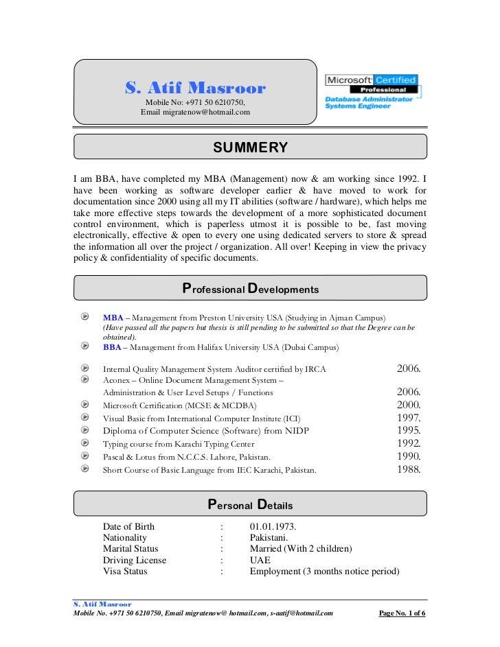 cv s atif masroor document manager specialist