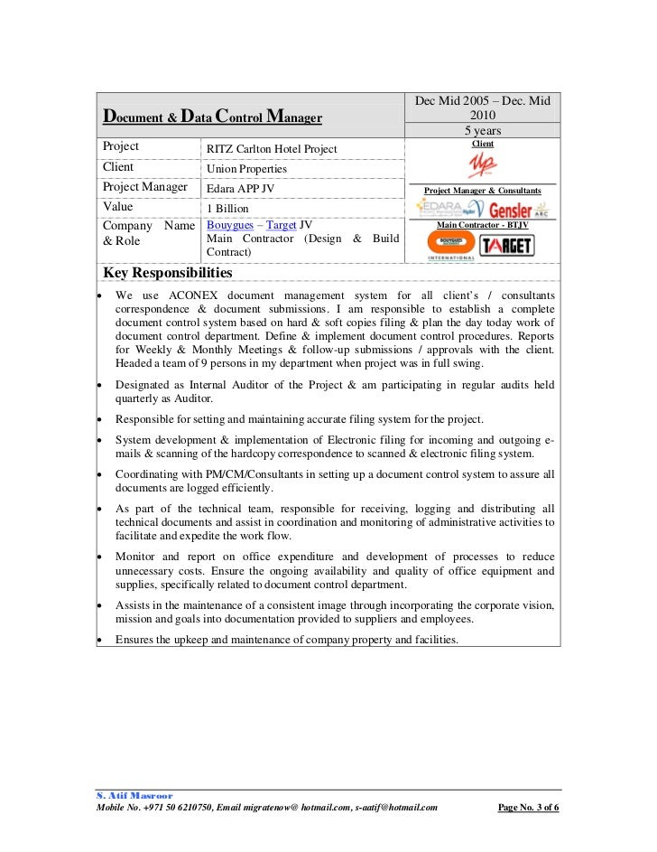 Document Controller Resume Cover Letter  Document Controller