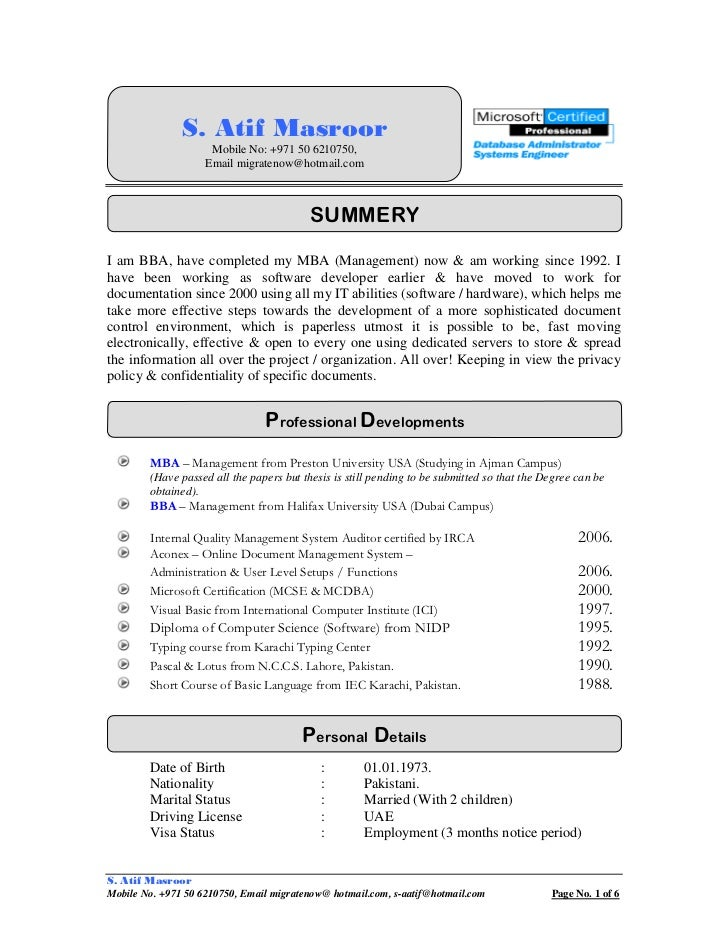 cv s atif masroor document control manager specialist