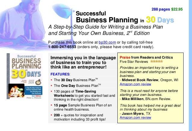 288 pages $22.95 SSuucccceessssffuull BBuussiinneessss PPllaannnniinngg iinn 3300 DDaayyss A Step-by-Step Guide for Writin...