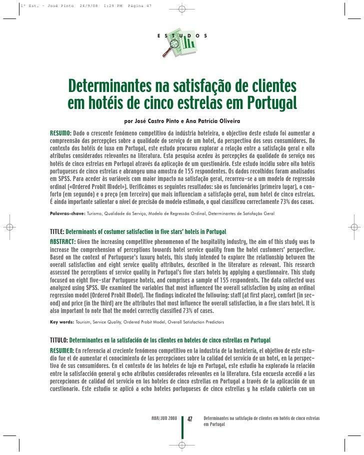 Determinantes na satisfação de clientes em hotéis de cinco estrelas em Portugal