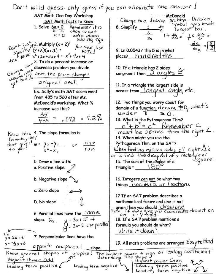 Sat math facts handout