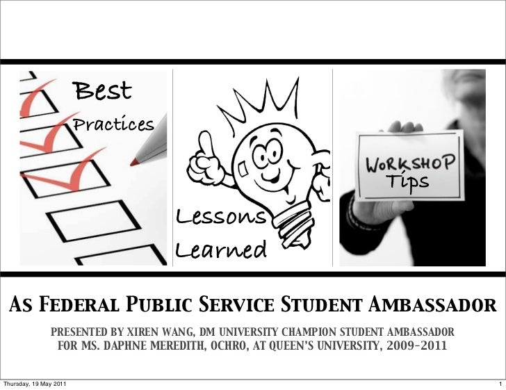 Government of Canada Student Ambassador Lessons Learned