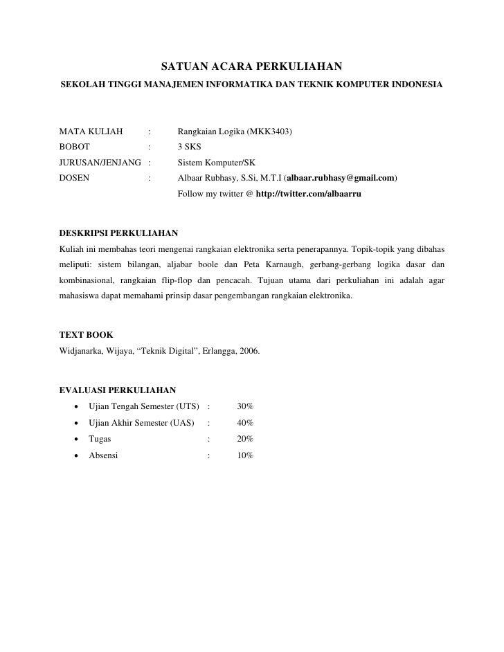 SATUAN ACARA PERKULIAHANSEKOLAH TINGGI MANAJEMEN INFORMATIKA DAN TEKNIK KOMPUTER INDONESIAMATA KULIAH            :       R...