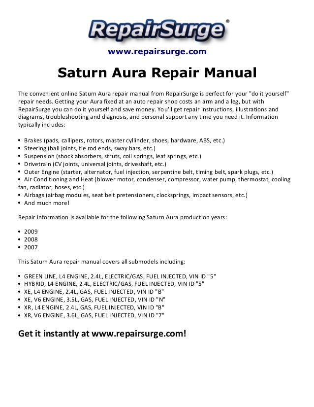 saturn aura repair manual 2007 2009. Black Bedroom Furniture Sets. Home Design Ideas