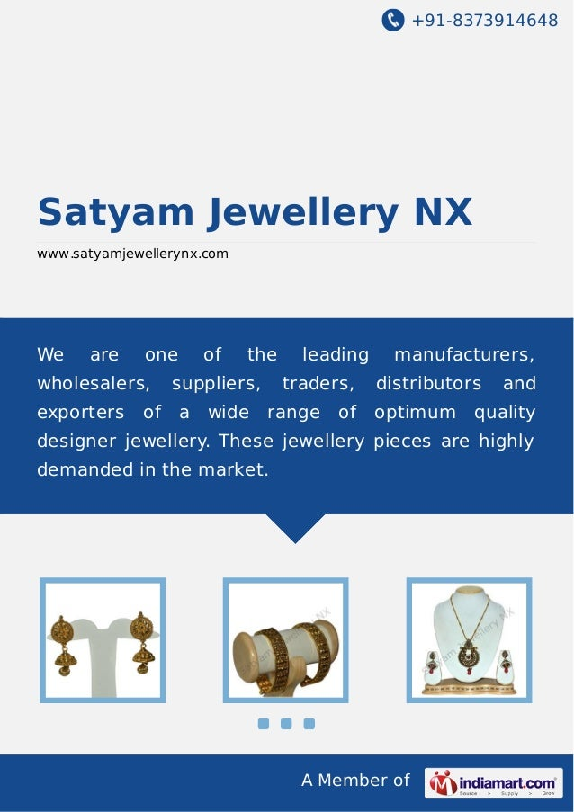 +91-8373914648  Satyam Jewellery NX www.satyamjewellerynx.com  We  are  one  wholesalers, exporters  of  of  the  supplier...