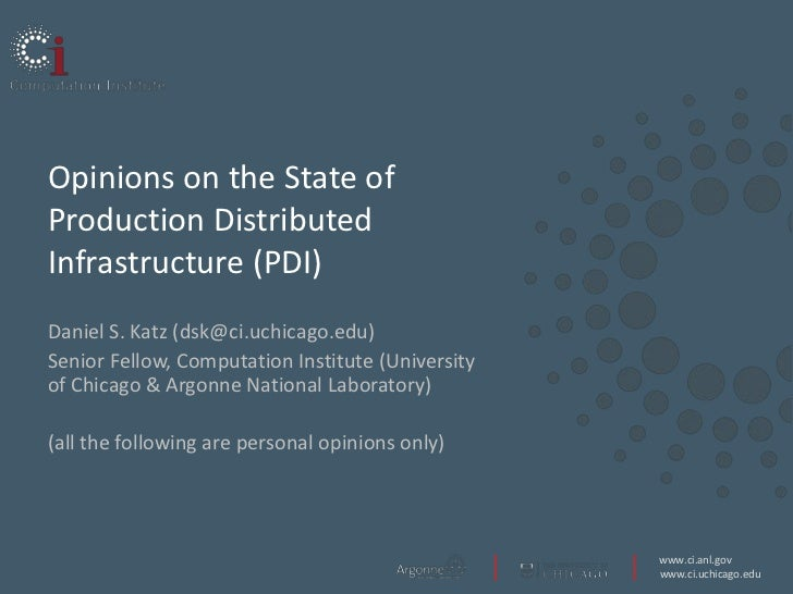 Opinions on the State of Production Distributed Infrastructure (PDI)
