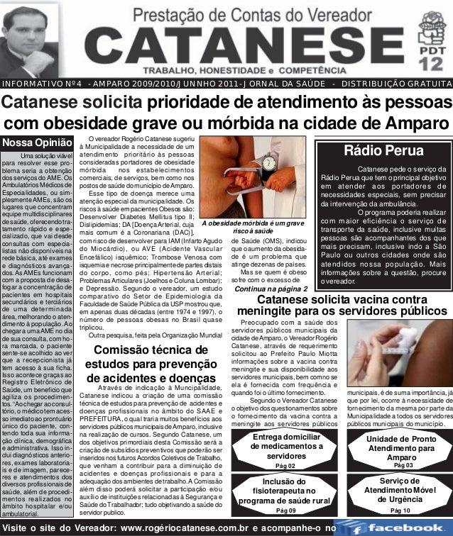 INFORMATIVO Nº 4 - AMPARO 2009/2010/JUNNHO 2011- JORNAL DA SAÚDE - DISTRIBUIÇÃO GRATUITA                                20...