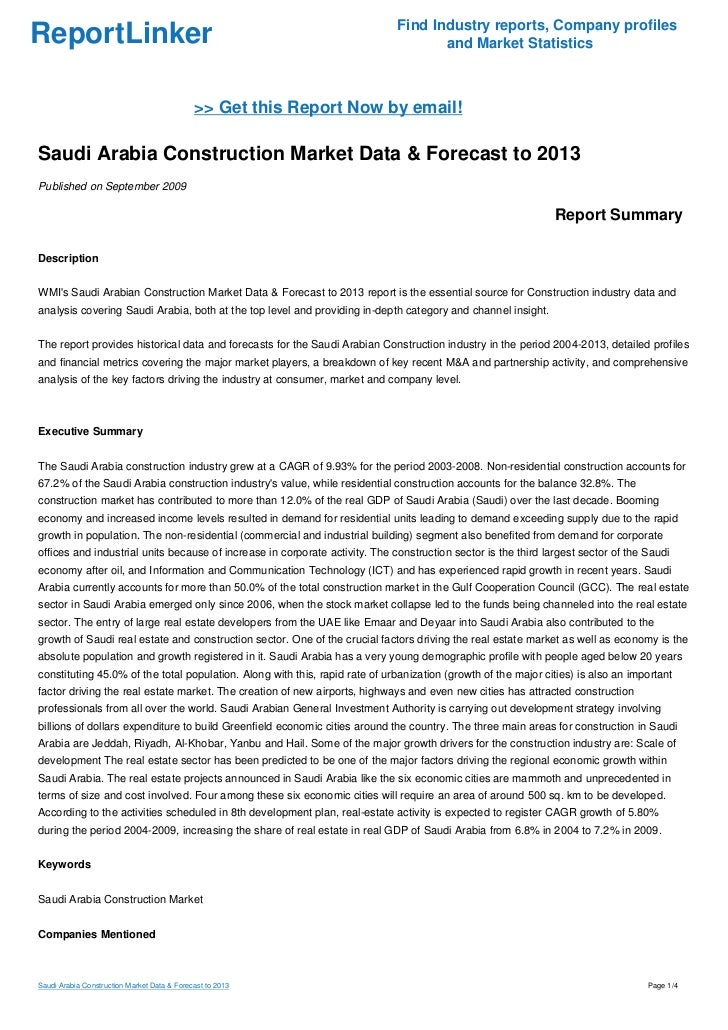 Saudi Arabia Construction Market Data & Forecast to 2013