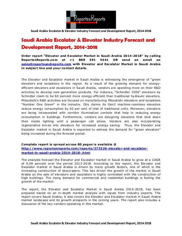 Elevator & Escalator Industry of Saudi Arabia Growth and Expansion, 2014-2018