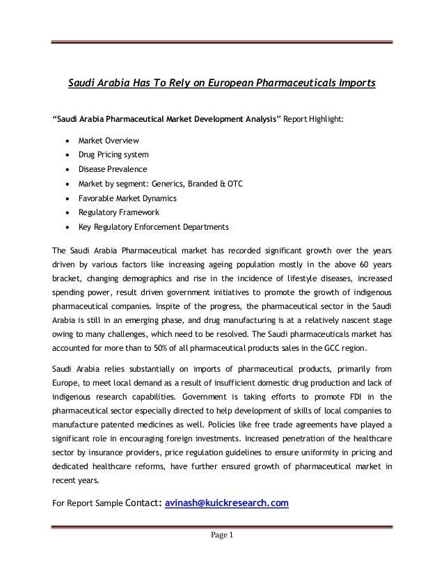 Saudi arabia has to rely on european pharmaceuticals imports