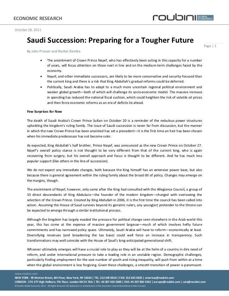 Saudi succession   preparing for a tougher future - october 28 2011