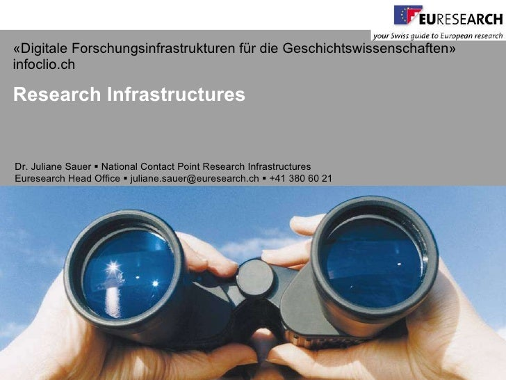 J. Sauer (Eurosearch Office Switzerland) - Research infrastructures in Europe