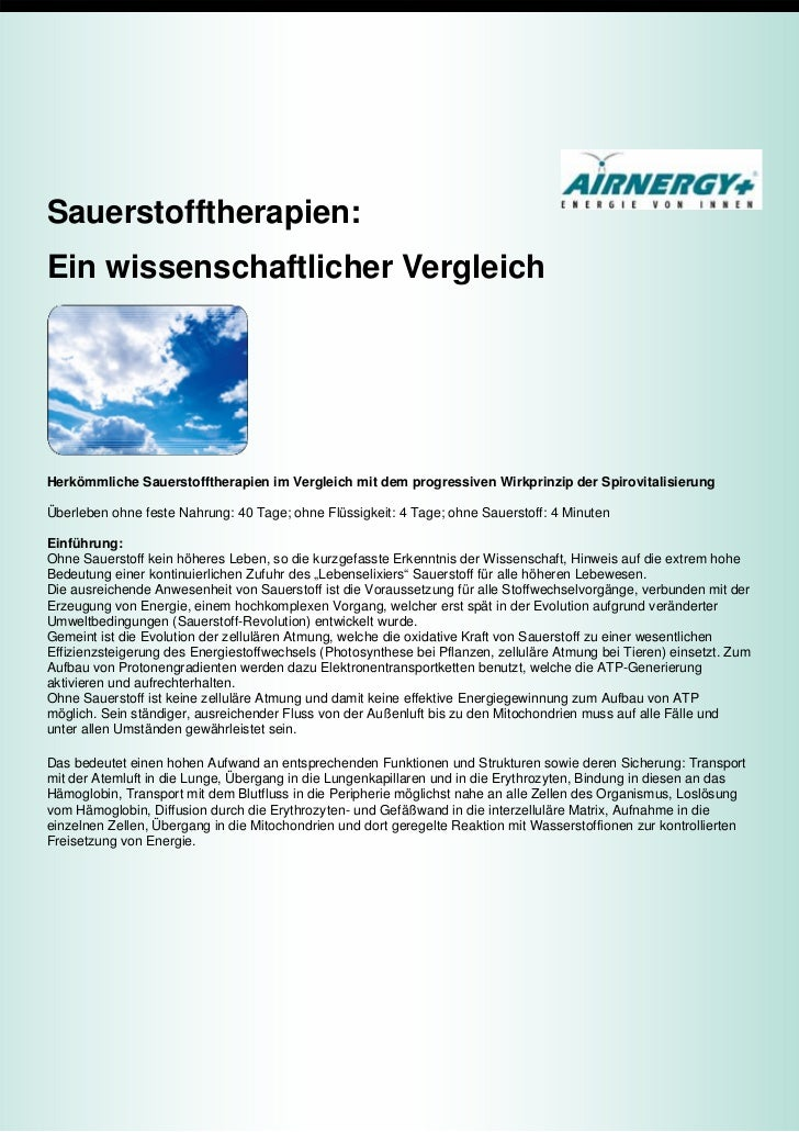 Sauerstofftherapien:Ein wissenschaftlicher VergleichHerkömmliche Sauerstofftherapien im Vergleich mit dem progressiven Wir...