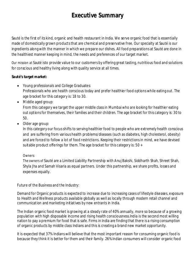 Organic restaurant business plan