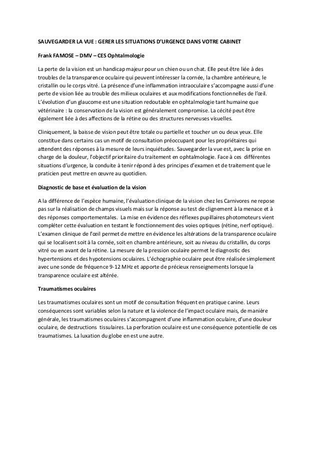 SAUVEGARDER LA VUE : GERER LES SITUATIONS D'URGENCE DANS VOTRE CABINETFrank FAMOSE – DMV – CES OphtalmologieLa perte de la...
