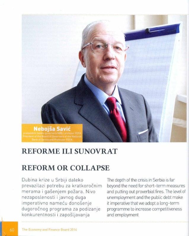 Prof. dr Nebojša Savić,  The economy and finance board 2014.