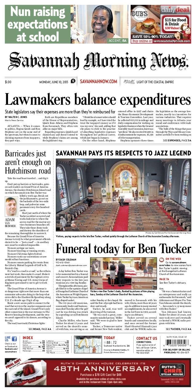 Savannah Morning News Front Page, June 10, 2013