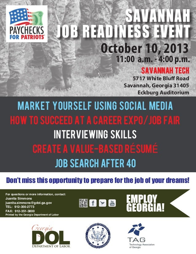 October 10, 2013 11:00 a.m. - 4:00 p.m. MARKET YOURSELF USING SOCIAL MEDIA HOW TO SUCCEED AT A CAREER EXPO/JOB FAIR INTERV...