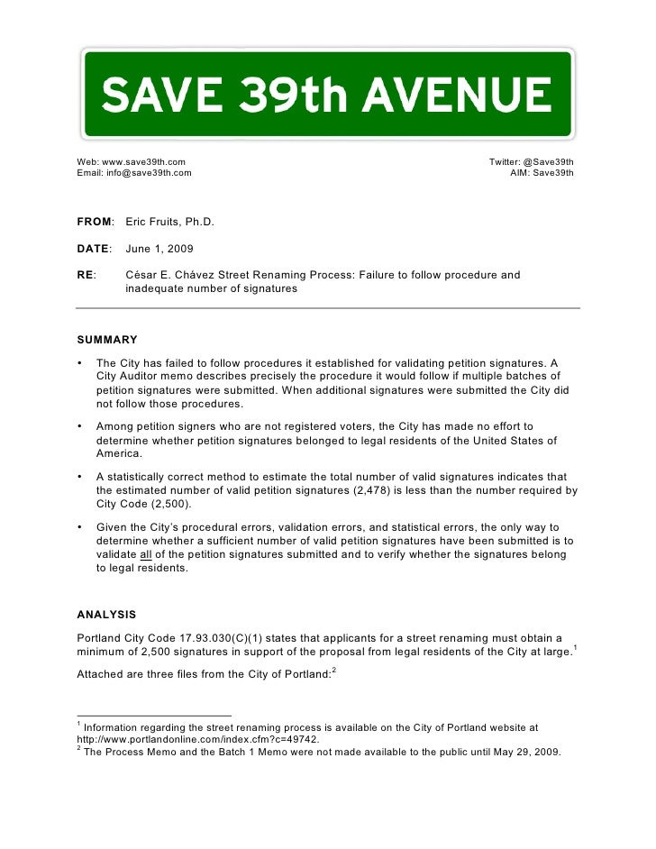 Save39th Petition Memo 090601a