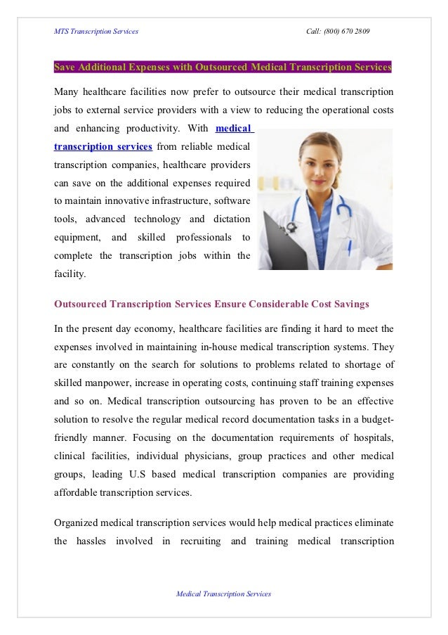 Save additional expenses with outsourced medical transcription services